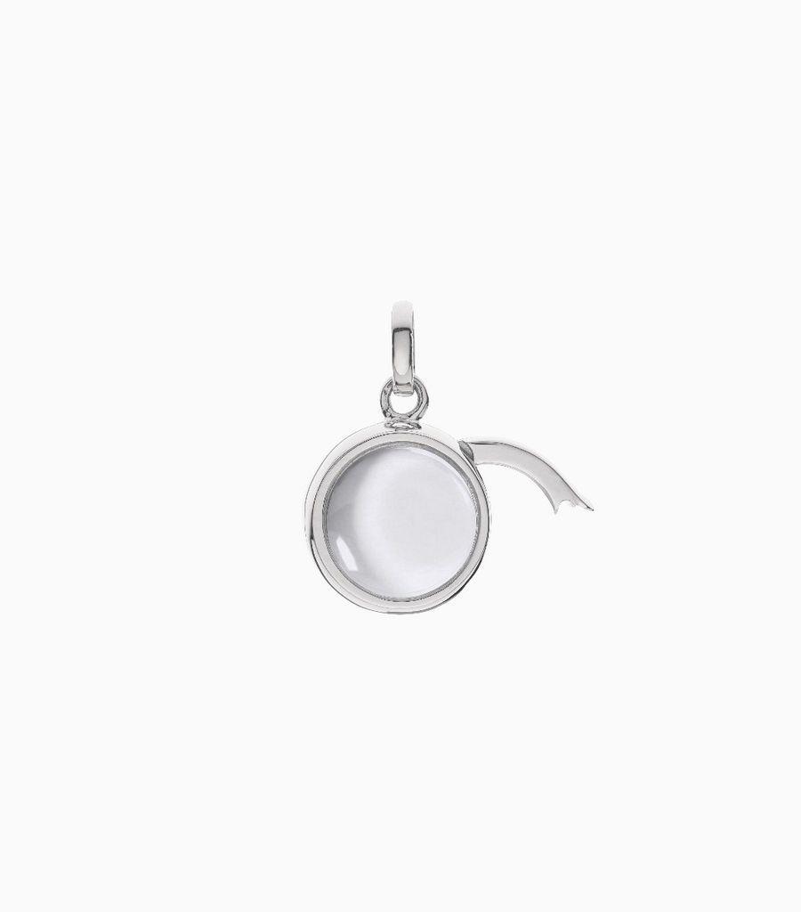 Small Round Locket Pendant White Gold