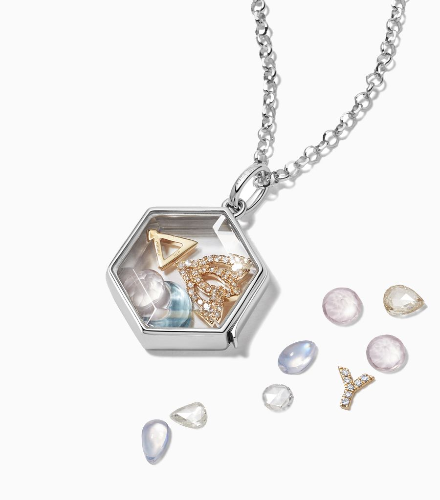 The Hexagonal Locket White Gold