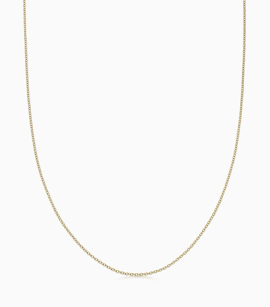 18 carat yellow gold, 32 inch, fine gauge chain, with an adjustible sliding ball, so that the necklace can be worn at any length. Logo disk on the back