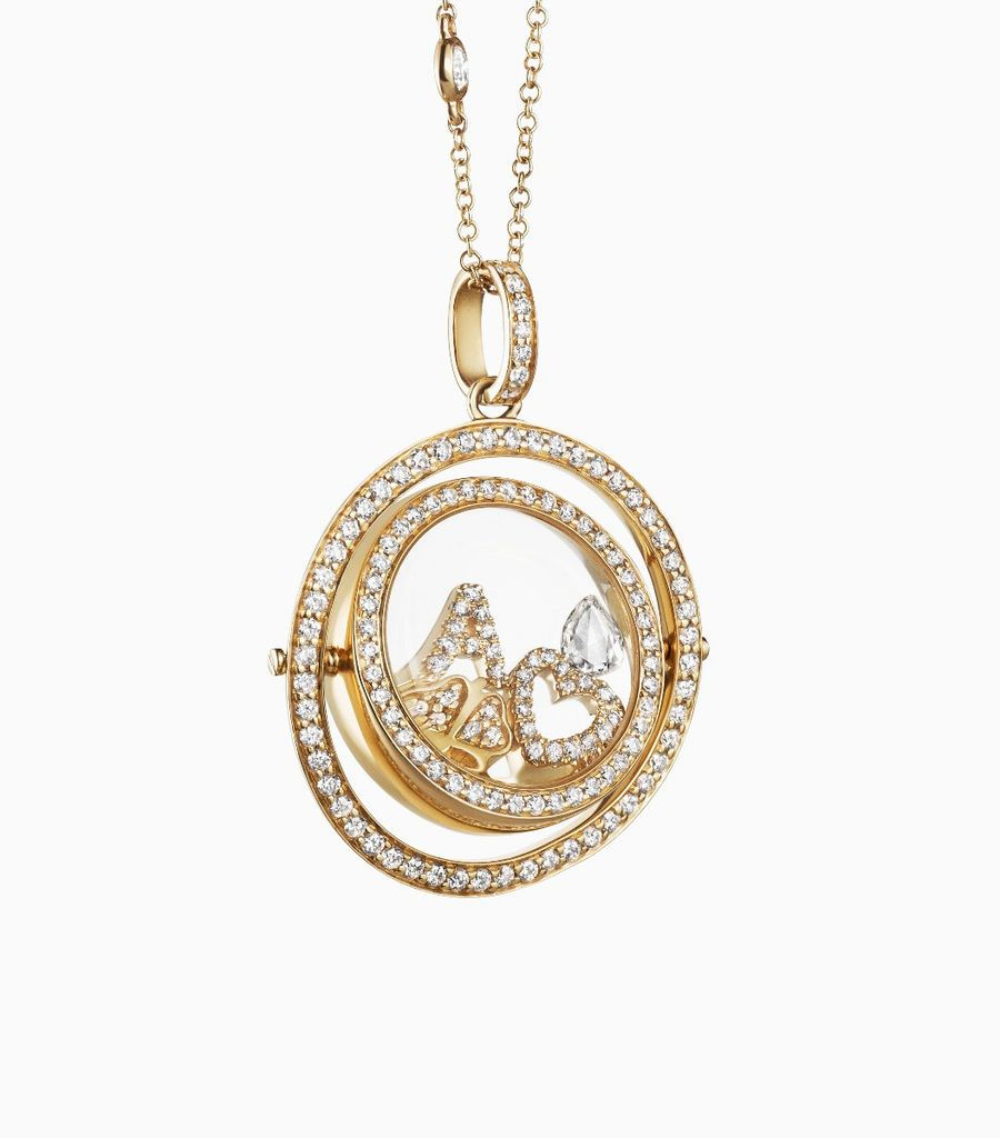 Yellow Gold Double Diamond Revolving Locket y