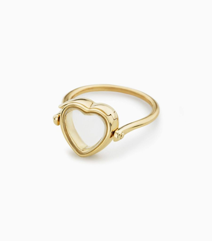 Small heart loquet ring 9k
