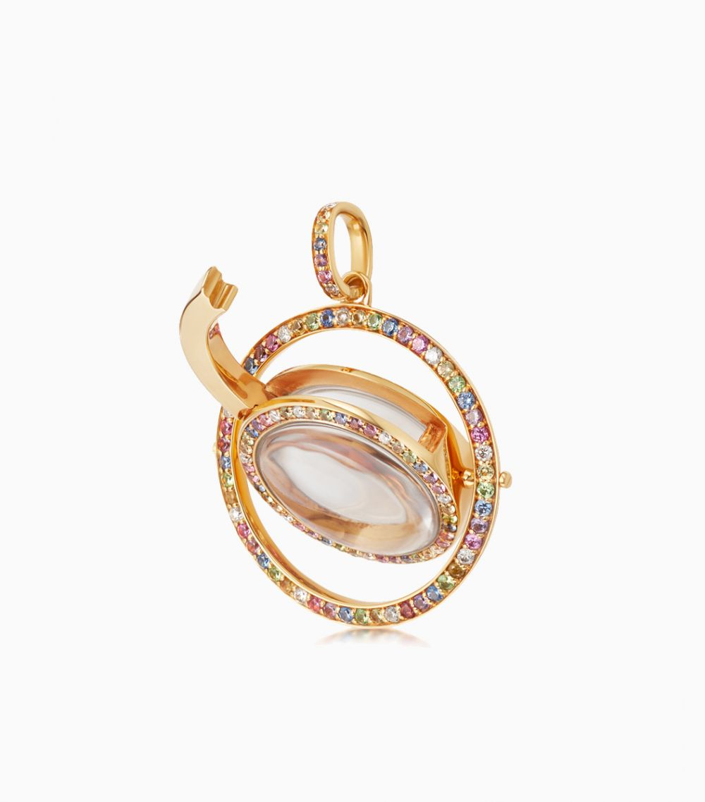 The Diamond and Sapphire Revolving Locket in Yellow Gold